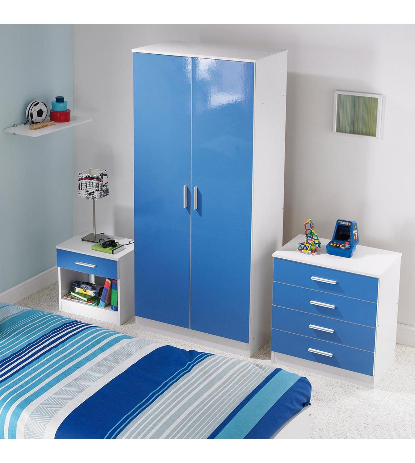 details about carleton 3 piece high gloss bedroom set in blue pink