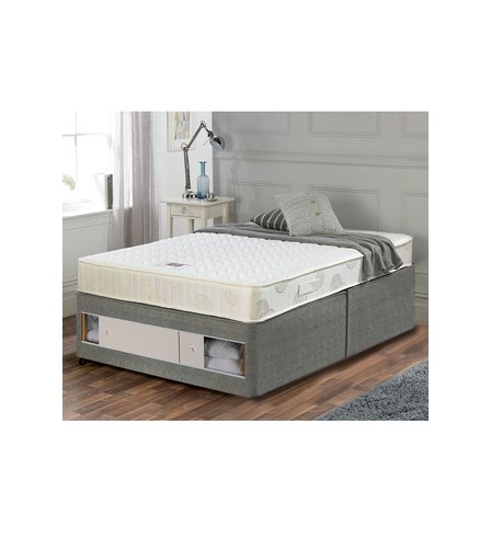 Airsprung memory flex divan bed set slide storage studio for Double divan bed with slide storage