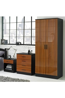 3-Piece Wood-Effect Gloss Bedroom Set