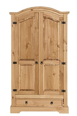 Mexican Pine 2 Door 1 Drawer Wardrobe