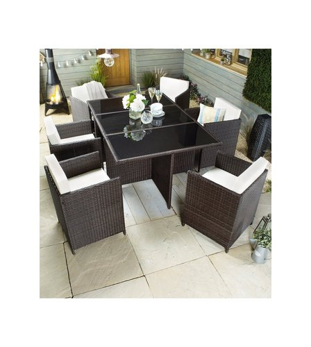 Image For Monaco 7 Piece Rattan Effect Cube Dining Set From Studio