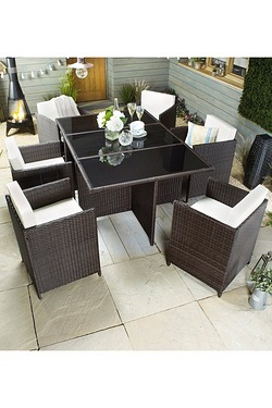 Monaco 7-Piece Rattan-Effect Cube Dining Set