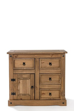 Mexican Pine 1 Door 4 Drawer Sideboard