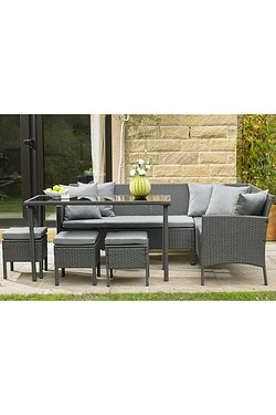 Marrakech 6 Seater Rattan-Effect Corner Sofa Dining Set
