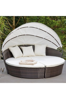 Sicily Modular Rattan-Effect Day Bed With Canopy