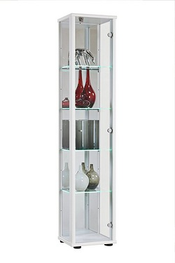 Universe 1 Door Glass Cabinet with LED Shelves and Lock
