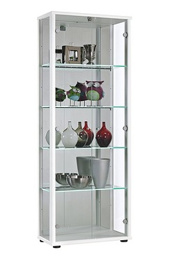 Universe 2 Door Glass Cabinet with LED Shelves and Lock