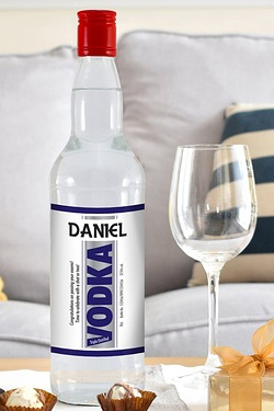 Personalised Vodka, Blue Stripe Label
