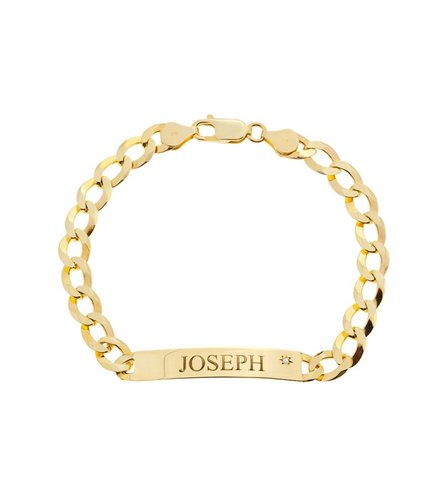 personalised 9ct yellow gold gents id bracelet 1 3 oz