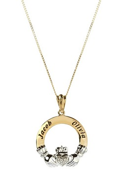 Personalised 9ct Gold Claddagh Pendant