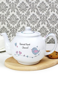 Personalised Floral Bird Tea Pot