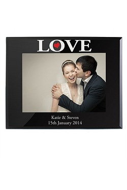 Personalised LOVE Black Glass 5x7 F...