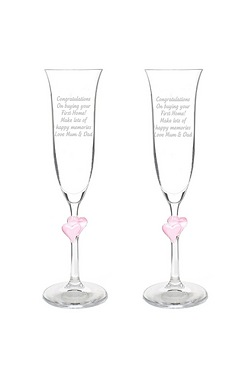 Personalised Pink Heart Stem Flutes