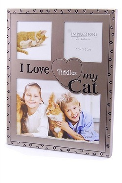 Personalised - I Love My Cat Gun Metal Frame