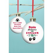 Personalised - Santa Paws Bauble