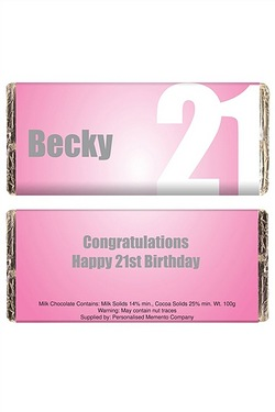 Personalised Pink Number Chocolate Bar