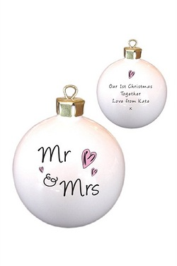 Personalised Mr & Mrs Hearts Bauble