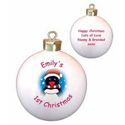 Personalised Cartoon Penguin Bauble