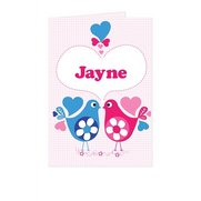 Personalised Love Heart Birds Card