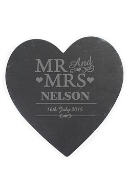 Mr and Mrs Slate Heart Personalised...