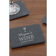 Wine Goes Here...Single Slate Coaster