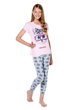 Girls Personalised Cat Pyjamas