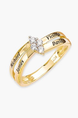 Personalised 9ct Gold 4 Name Ring