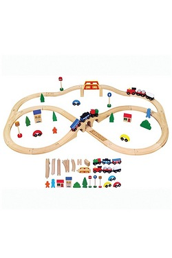 Personalised - Wooden Train Set 49 Piece