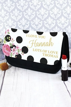 Personalised Floral Polka Dot Make ...