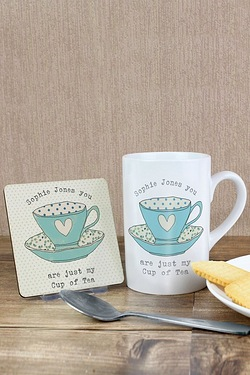 Personalised Vintage Tea Cup Mug and Coaster Set