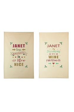 Pack Of 2 Personalised Christmas Te...