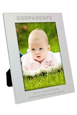Silver Godparents Photo Frame
