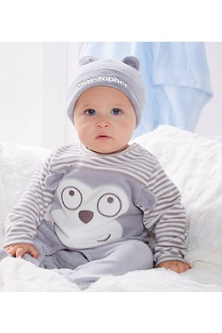 Baby Monkey Sleepsuit With Personal...