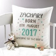 Personalised Born In Cushion Cover