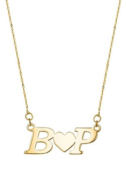 9ct Yellow Gold Initials And Heart ...