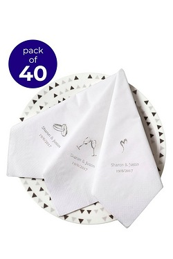40 Personalised Heart Serviettes
