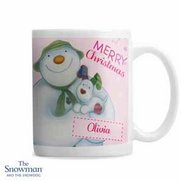 Snowman And The Snowdog Pink Mug