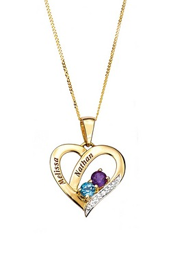 9ct Gold Personalised Heart Pendant...