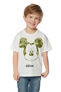 Boy's Personalised Camo Mickey T-Shirt