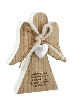 Rustic Wooden Angel Decoration