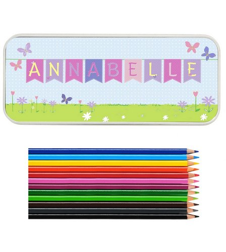 Image for Personalised Bunting Pencil Tin With Pencil Crayons from ace