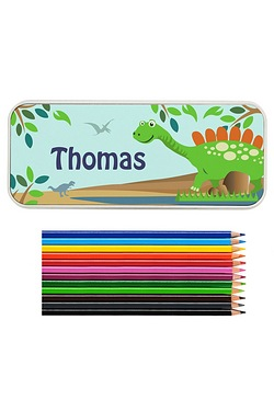 Personalised Dinosaur Pencil Tin Wi...