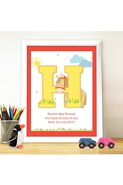 Pers Animal Initial White Poster Frame