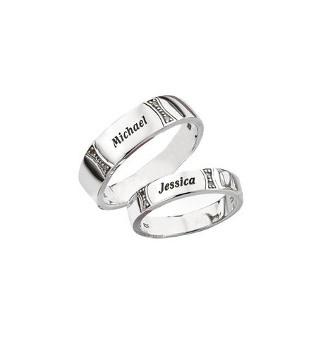 Image for Personalised Silver Diamond Accent Wedding Band - 6mm from ace