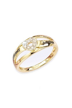 Personalised 9ct Yellow Gold Heart ...