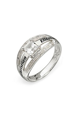 Personalised Silver Princess Ring