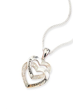 Personalised Silver Heart Diamond A...