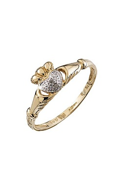 9ct 0.01 Diamond Claddagh Ring