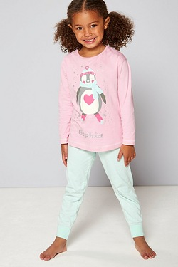 Girls Personalised Pyjamas - Penguin Pink
