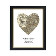 1896 - 1904 Map Heart Framed Print